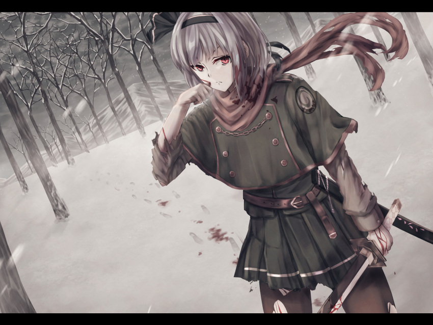 1girl adapted_costume bangs black_hairband black_legwear closed_mouth clouds cloudy_sky cowboy_shot footprints frown green_capelet green_skirt hairband highres holding holding_sword holding_weapon katana konpaku_youmu military military_uniform miniskirt outdoors pantyhose pleated_skirt red_eyes scarf short_hair silver_hair skirt sky snowing solo standing sword torn_clothes torn_legwear torn_scarf torn_skirt torn_sleeves torottye touhou tree uniform weapon