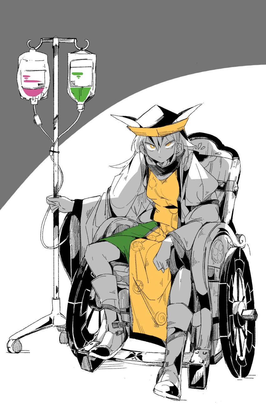 1girl absurdres black_headwear boots full_body green_skirt highres holding intravenous_drip leaning_forward long_hair long_sleeves looking_at_viewer ma_sakasama matara_okina partially_colored shirt sitting skirt solo tabard touhou wheelchair white_background yellow_eyes