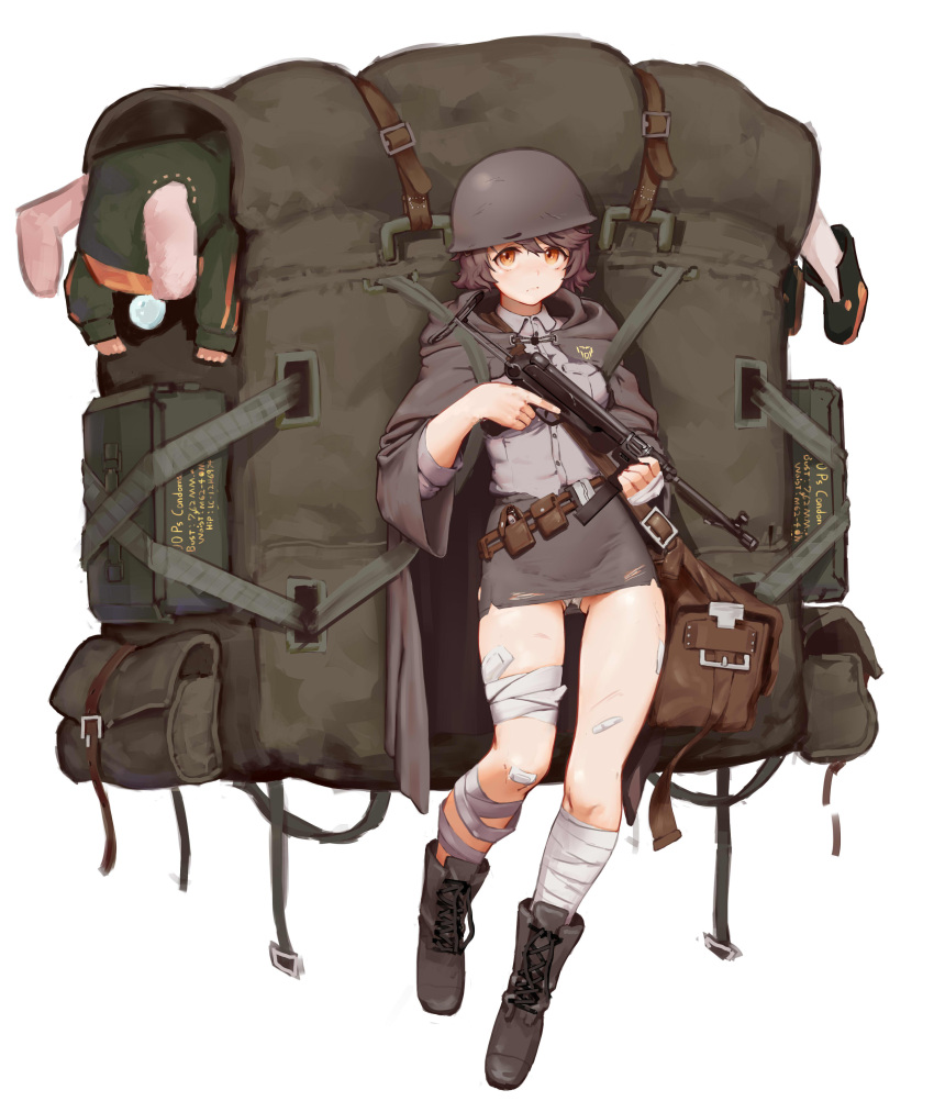 1girl absurdres backpack bag bandaged_leg bandages blush boots brown_eyes brown_hair eyebrows_visible_through_hair eyebrows_visible_through_hat greentree gun helmet highres last_origin looking_at_viewer miniskirt mp40 skirt solo submachine_gun t-50_px_silky weapon