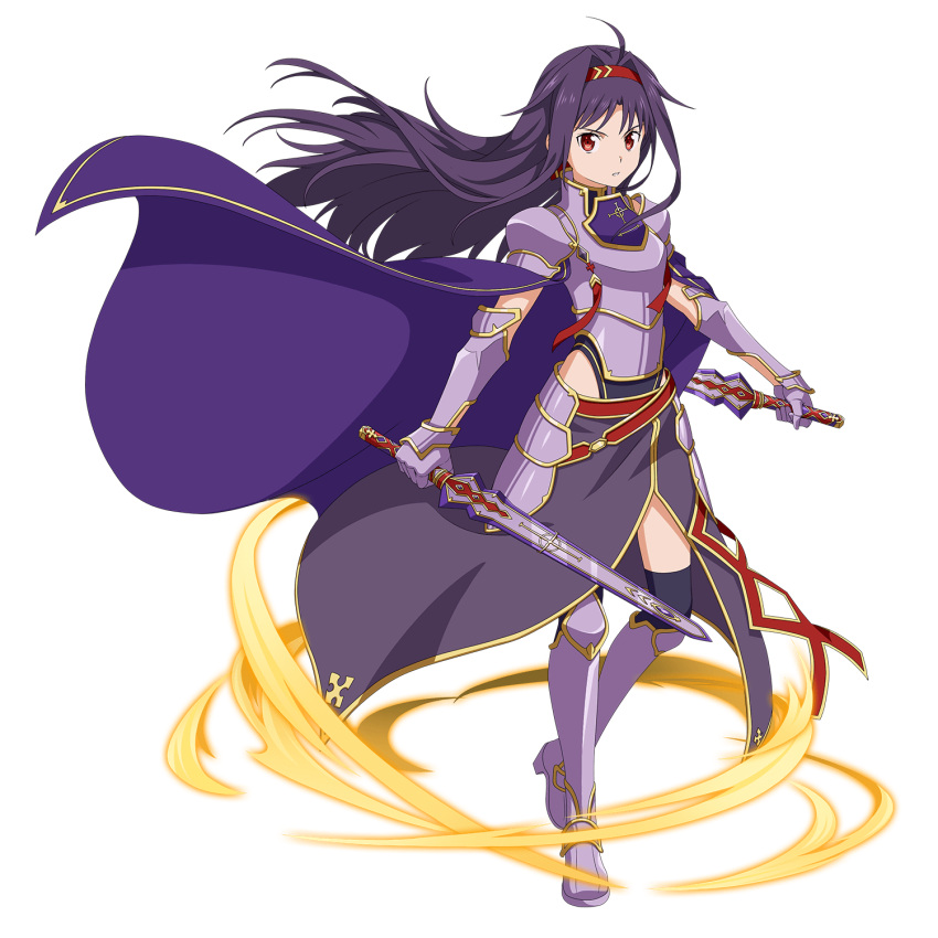 1girl ahoge armored_boots black_legwear boots breastplate dual_wielding faulds floating_hair full_body gloves hair_intakes hairband highleg highleg_leotard highres holding holding_sword holding_weapon leotard long_hair looking_at_viewer official_art parted_lips purple_coat purple_footwear purple_gloves purple_hair purple_skirt red_eyes red_hairband shiny shiny_hair side_slit skirt solo standing sword sword_art_online thigh-highs transparent_background very_long_hair weapon yuuki_(sao)