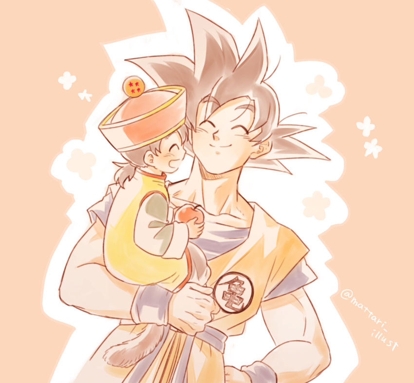 2boys :d ^_^ apple black_hair blush carrying child chinese_clothes clenched_hand closed_eyes closed_mouth clothes_writing collarbone commentary_request dougi dragon_ball dragon_ball_(object) dragon_ball_z dutch_angle eyebrows_visible_through_hair father_and_son floral_background food fruit hand_on_hip happy hat highres holding holding_food holding_fruit long_sleeves male_focus mattari_illust monkey_tail multiple_boys open_mouth outline pink_background profile red_headwear simple_background smile son_gohan son_gokuu spiky_hair tail twitter_username upper_body white_outline wristband