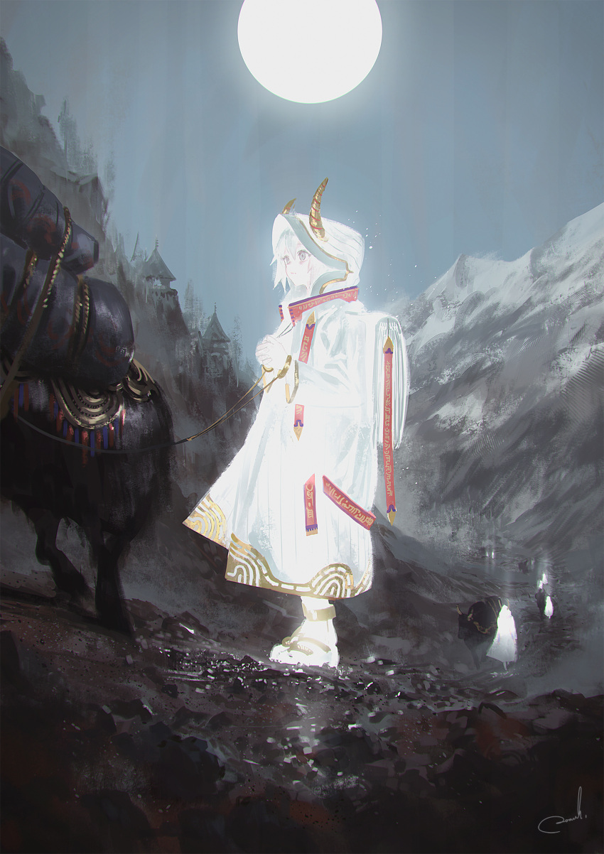 1girl animal building bull glowing grey_eyes hands_together highres hood hood_up horns long_sleeves mountain original reoen sandals signature solo_focus standing white_coat white_hair