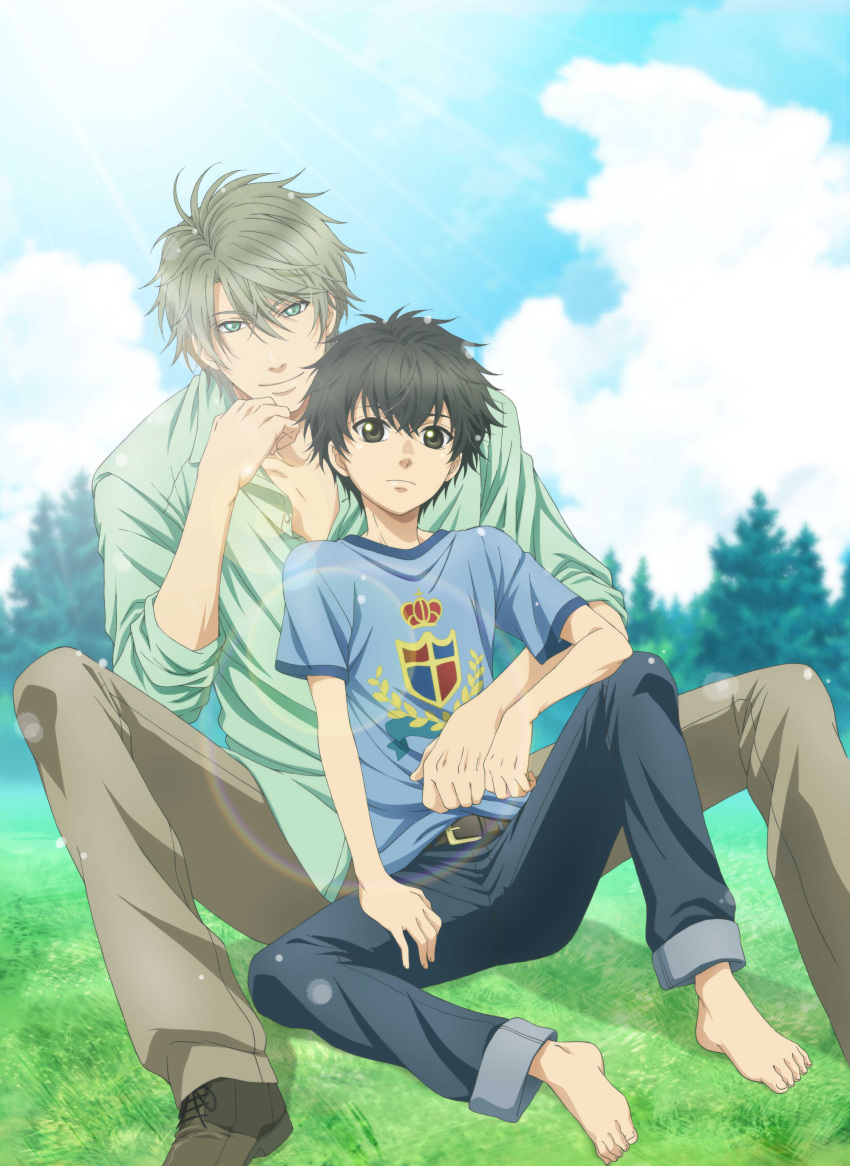 2boys absurdres age_difference belt black_hair blue_sky brothers brown_eyes button_gap buttons collared_shirt day dress_shirt feet green_eyes hair_between_eyes highres kaidou_haru kaidou_ren light_brown_hair looking_at_viewer male_focus multiple_boys official_art outdoors partially_unbuttoned shirt shirt_green shoes siblings sky smile super_lovers t-shirt