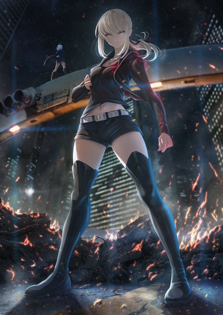 2girls bangs belt black_camisole black_footwear black_jacket black_ribbon black_shorts blonde_hair boots breasts building cityscape cross cross_necklace embers fate/grand_order fate_(series) fire full_body hair_ribbon highres imizu_(nitro_unknown) jacket jeanne_d'arc_(alter)_(fate) jeanne_d'arc_(fate)_(all) jewelry legs long_hair long_sleeves looking_at_viewer low_ponytail multiple_girls navel necklace night night_sky ribbon saber_alter_costume_ver._shinjuku_1999 short_shorts shorts sidelocks sky skyscraper solo_focus thigh-highs thigh_boots traffic_light white_belt wicked_dragon_witch_ver._shinjuku_1999 yellow_eyes