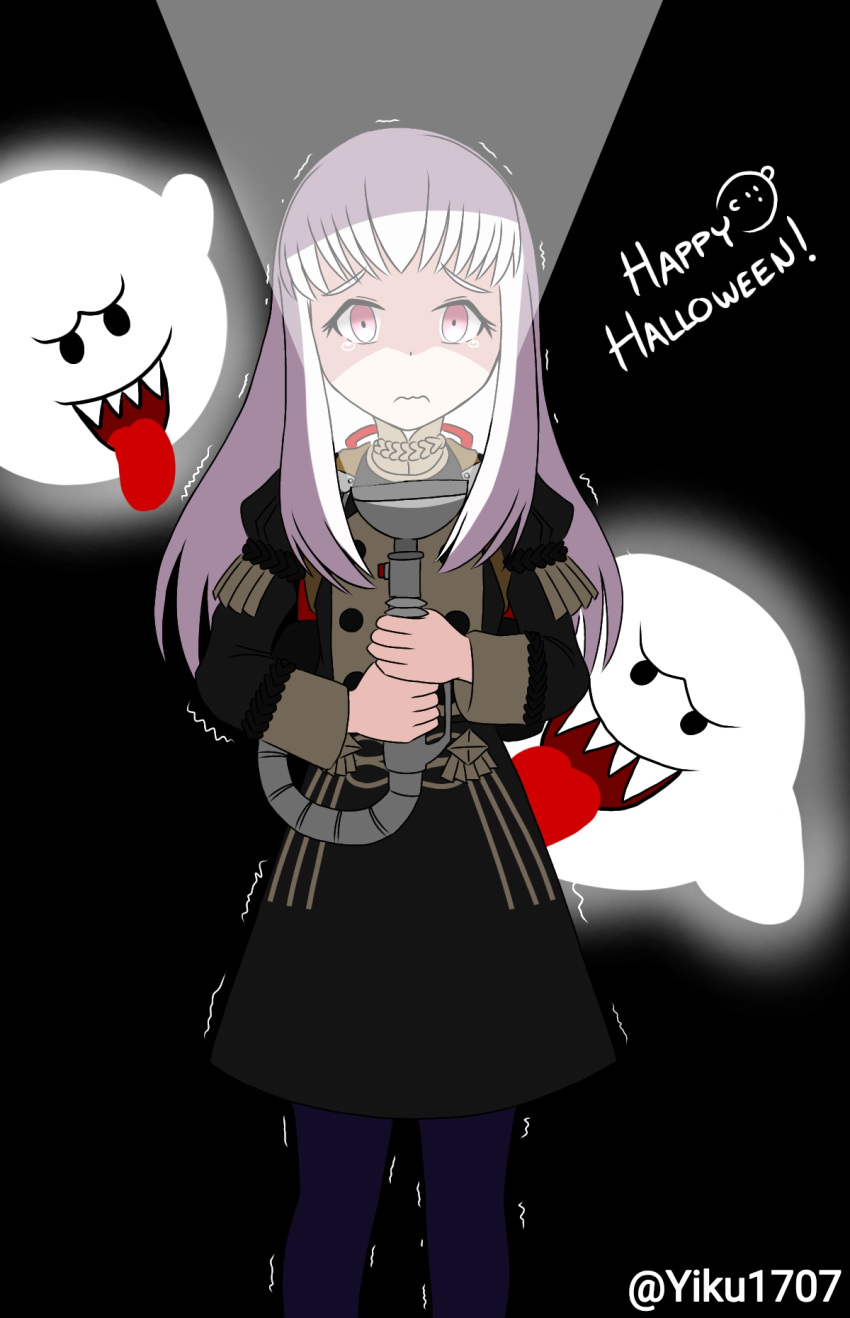 1girl 2019 angry artist_name black_background boo boo_(mario) closed_mouth crossover fangs fire_emblem fire_emblem:_fuukasetsugetsu fire_emblem:_three_houses flashlight garreg_mach_monastery_uniform ghost halloween human intelligent_systems koei_tecmo light loli long_hair luigi's_mansion luigi's_mansion_3 lysithea_von_ordelia mario_(series) next_level_games nintendo nintendo_ead open_mouth parody scared school_uniform smile sora_(company) super_smash_bros. tearing_up tears tongue_out video_game_console_connection violet_eyes white_hair year_connection yiku1707