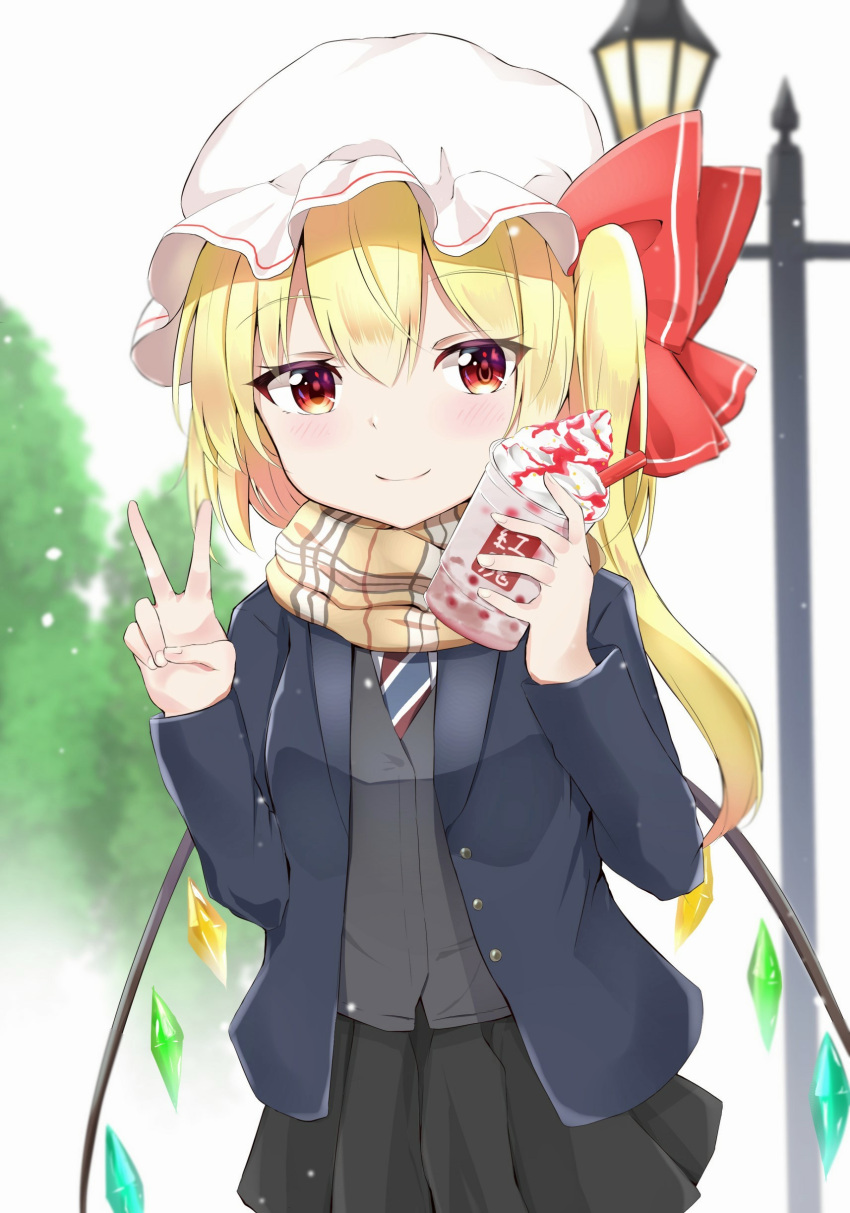 1girl absurdres alternate_costume arms_up black_skirt blazer blonde_hair blue_jacket blurry blurry_background blush commentary_request cowboy_shot cup day depth_of_field disposable_cup drinking_straw eyebrows_visible_through_hair flandre_scarlet hair_between_eyes hat hat_ribbon highres holding holding_cup iyo_(ya_na_kanji) jacket lamppost looking_at_viewer mob_cap necktie one_side_up open_clothes open_jacket outdoors plaid plaid_scarf pleated_skirt red_eyes ribbon scarf school_uniform short_hair skirt smile solo standing striped striped_neckwear sweater_vest symbol_commentary touhou tree v whipped_cream white_headwear wings
