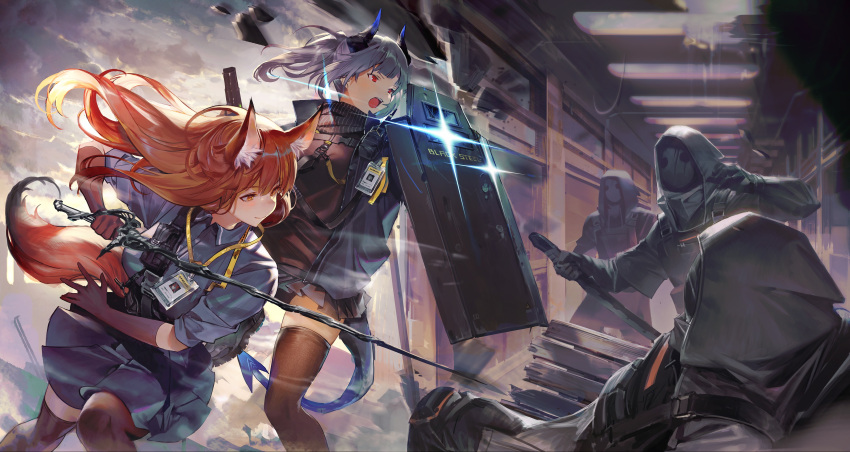 2girls 3others absurdres animal_ears arknights battle brown_eyes brown_gloves brown_hair brown_legwear commentary_request dragon_horns dragon_tail fox_ears fox_tail franka_(arknights) glint gloves highres holding_shield hood horns id_card indoors korean_commentary liskam_(arknights) long_hair looking_at_another looking_away mask multiple_girls multiple_others open_mouth pleated_skirt ponytail red_eyes riot_shield shield shycocoa silver_hair skirt sword tail thigh-highs weapon zettai_ryouiki