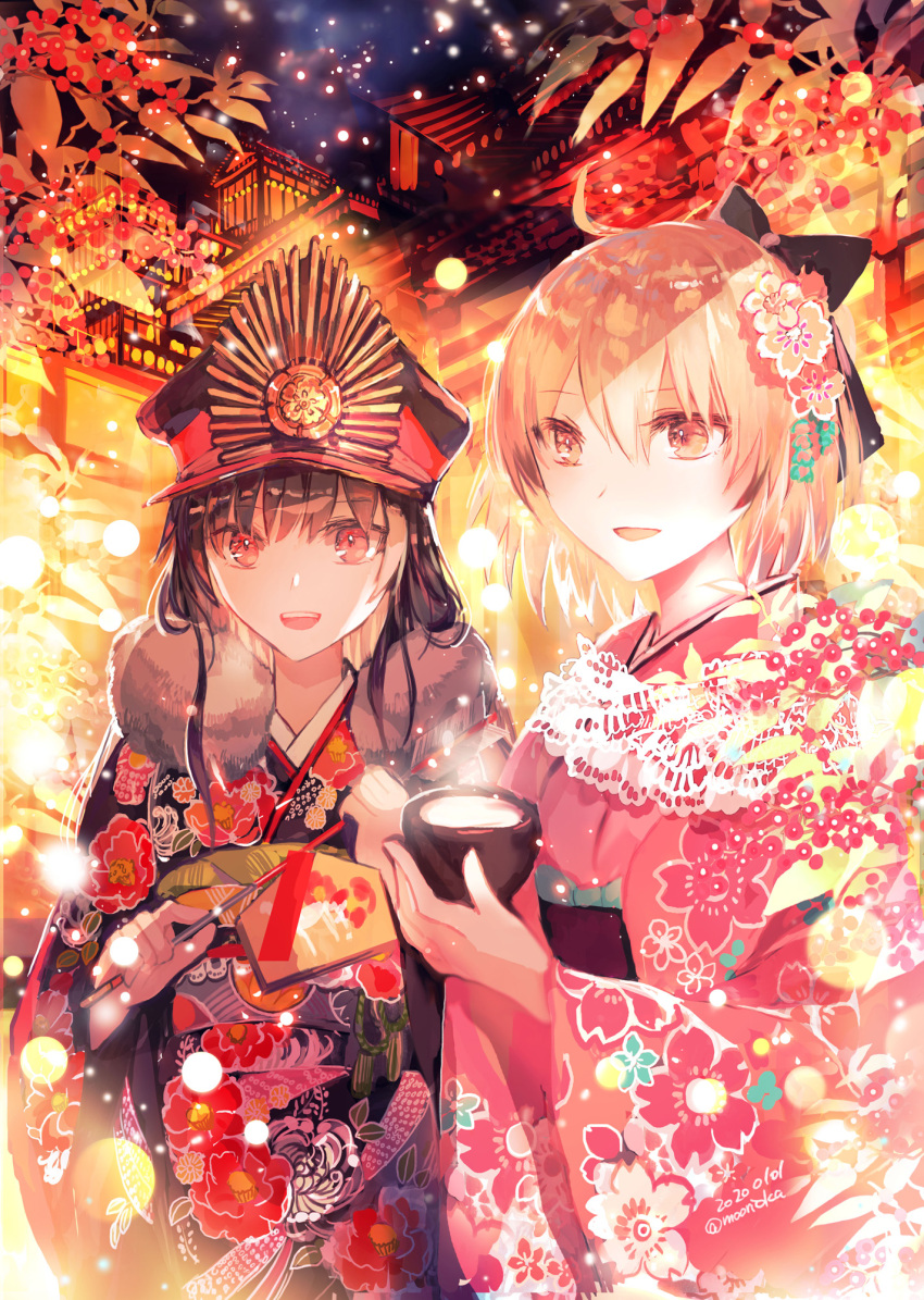 2girls ahoge alternate_costume amazake_(drink) architecture arrow black_bow black_hair bow commentary_request dated east_asian_architecture ema fate/grand_order fate_(series) floral_print flower fur-trimmed_kimono fur_trim hair_bow hair_flower hair_ornament hamaya hat highres japanese_clothes kimono koha-ace long_hair long_sleeves looking_at_viewer military_hat multiple_girls night obi obijime oda_nobunaga_(fate) oda_nobunaga_(fate)_(all) oda_uri okita_souji_(fate) okita_souji_(fate)_(all) open_mouth peaked_cap pink_kimono platinum_blonde_hair red_eyes rioka_(southern_blue_sky) sash short_hair smile twitter_username wide_sleeves yellow_eyes