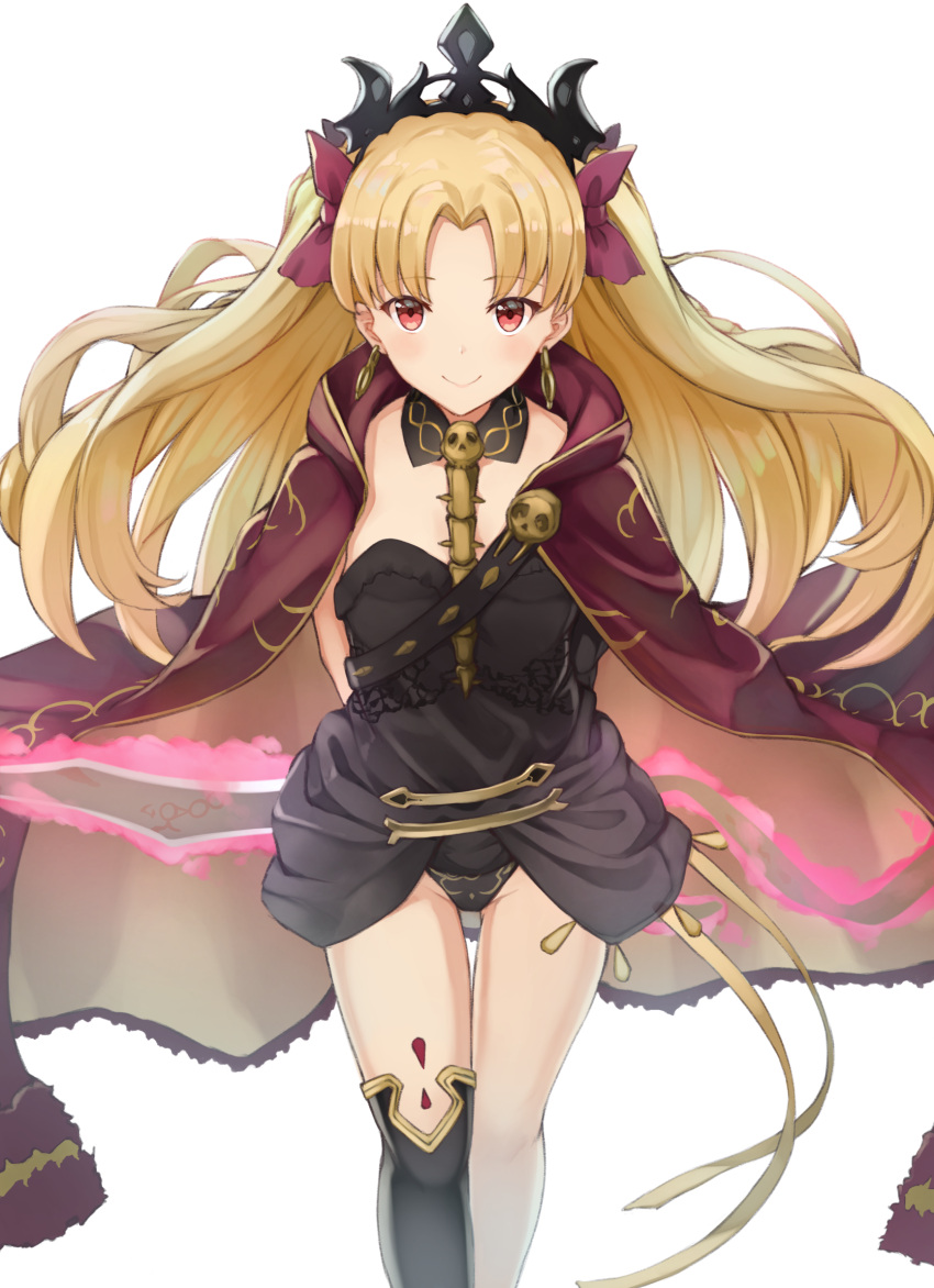 1girl asymmetrical_legwear asymmetrical_sleeves bangs between_breasts black_legwear blonde_hair blush breasts cape closed_mouth detached_collar earrings ereshkigal_(fate/grand_order) fate/grand_order fate_(series) gold_trim highres hoop_earrings infinity jewelry long_hair looking_at_viewer medium_breasts parted_bangs piisu red_cape red_eyes simple_background single_sleeve single_thighhigh skull smile solo spine thigh-highs tiara two_side_up white_background