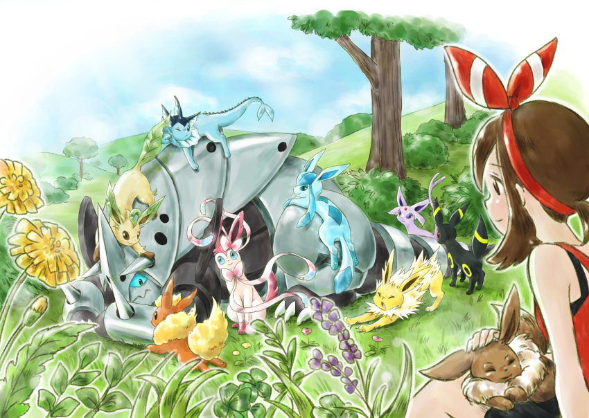 1girl aggron bangs black_eyes blue_eyes blue_sky breasts brown_eyes brown_hair bush closed_eyes clouds cloudy_sky commentary_request day eevee espeon flareon flower gen_1_pokemon gen_3_pokemon gen_4_pokemon gen_6_pokemon glaceon grass hair_ribbon haruka_(pokemon) huiyuan jolteon leafeon mega_aggron mega_evolution outdoors plant pokemon pokemon_(game) pokemon_on_back pokemon_on_head pokemon_on_lap pokemon_on_leg pokemon_oras red_ribbon ribbon short_hair sidelocks sitting sky small_breasts smile stretch sylveon tree umbreon vaporeon violet_eyes yawning