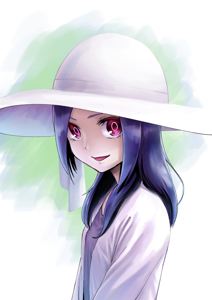 1girl :d blouse face fresh_precure! hair_over_shoulder hat higashi_setsuna highres ito_user_2810a long_hair looking_at_viewer open_mouth pink_eyes precure purple_hair smile solo sun_hat undershirt upper_body white_blouse white_headwear