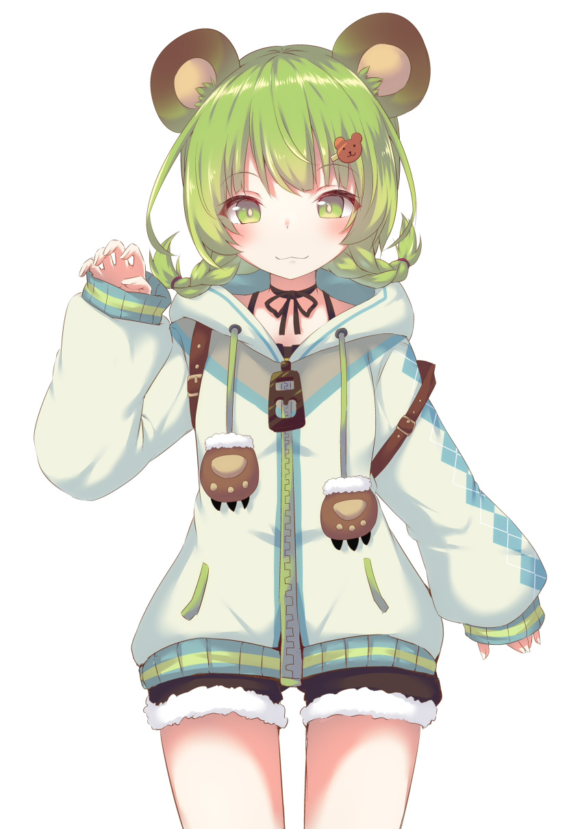 1girl :3 absurdres animal_ears animare bangs bear_ears bear_hair_ornament black_ribbon black_shorts blush braid choker closed_mouth commentary_request daidai_ookami drawstring eyebrows_visible_through_hair fur-trimmed_shorts green_eyes green_hair grey_jacket hair_ornament hairclip highres hinokuma_ran hood hood_down hooded_jacket jacket long_sleeves looking_at_viewer puffy_long_sleeves puffy_sleeves ribbon ribbon_choker short_shorts shorts simple_background sleeves_past_wrists solo twin_braids white_background white_nails