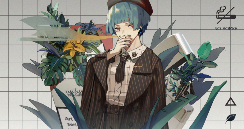 1girl alternate_costume bangs black_headwear black_neckwear blue_hair blunt_bangs buttons cigarette fern flower formal girls_frontline hat highres holding holding_cigarette jacket jewelry long_sleeves multicolored multicolored_nails nail_polish necktie nunuan orange_eyes pants plant shirt short_hair single_earring smoke smoking solo suit zas_m21_(girls_frontline)