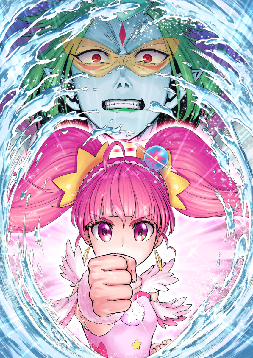 1boy 1girl ahoge angry aura bangs blue_skin blunt_bangs clenched_hands clenched_teeth covering_mouth cure_star dress earrings face facial_mark forehead_mark foreshortening glasses glowing green_hair green_lips hair_ornament hairband highres hoop_earrings hoshina_hikaru ito_user_2810a jewelry kappard_(precure) pendant pince-nez pink_dress pink_eyes pink_hair planet_hair_ornament pointy_ears precure punching red_eyes sleeveless sleeveless_dress sparkle star star_hair_ornament star_twinkle_precure sunglasses teeth twintails v-shaped_eyebrows water wrist_cuffs