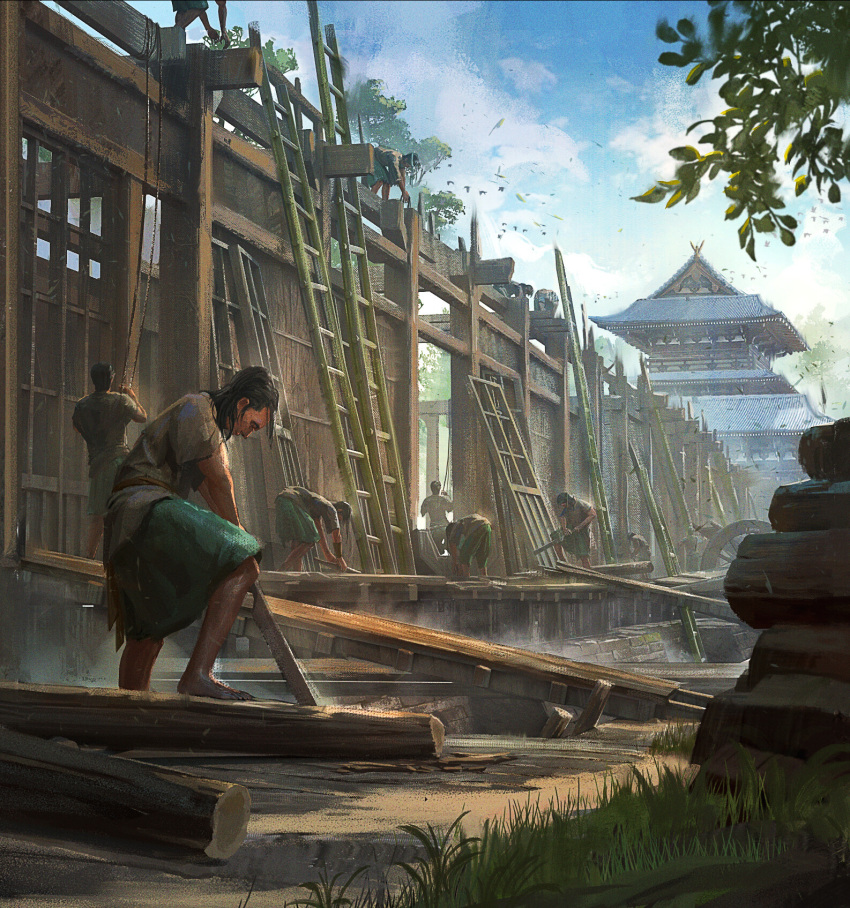 6+boys architecture black_hair building chang-wei_chen construction day east_asian_architecture grass highres ladder log monumental multiple_boys outdoors rope saw scenery short_sleeves tree wheel working