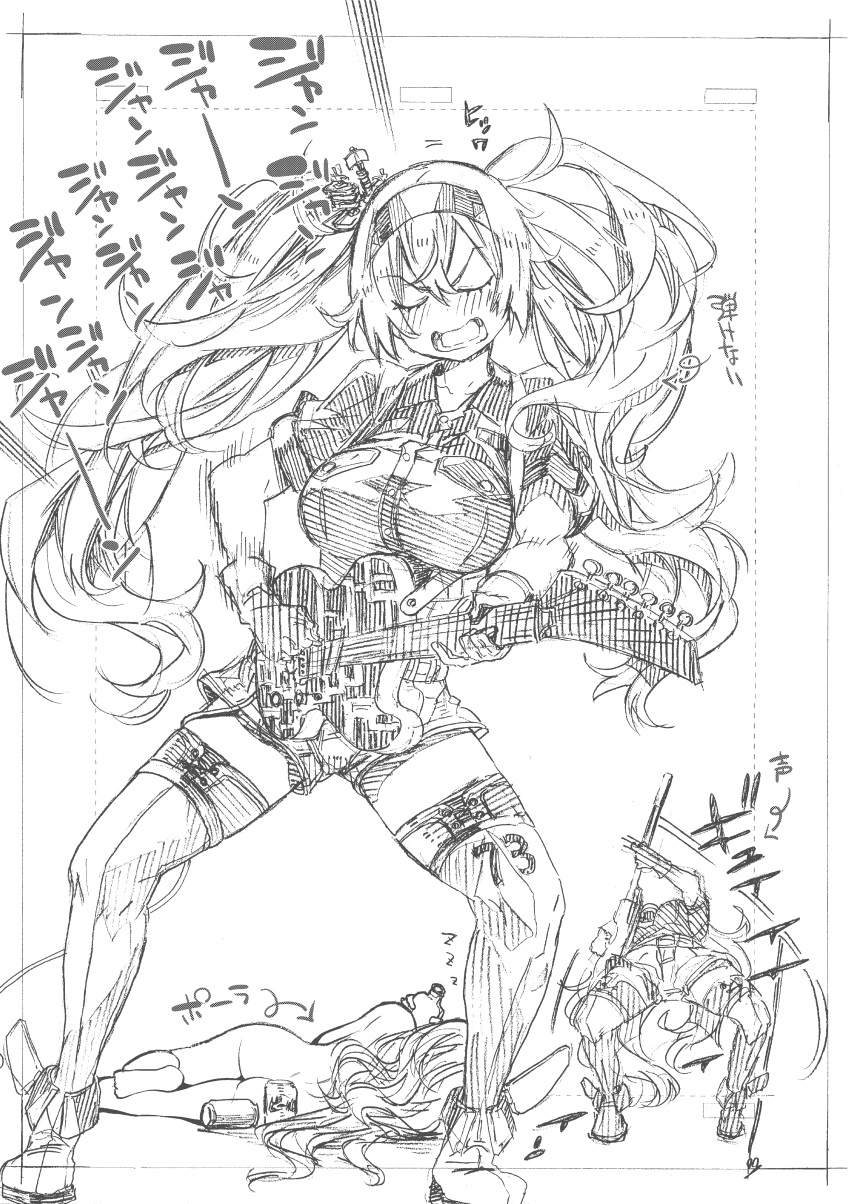 2girls absurdres bangs belt blush bottle breast_pocket breasts collared_shirt commentary electric_guitar eyebrows_visible_through_hair gambier_bay_(kantai_collection) gloves guitar hair_between_eyes hairband highres holding instrument kantai_collection kojima_takeshi large_breasts long_hair lying multiple_girls music nude on_side open_mouth playing_instrument pocket pola_(kantai_collection) shirt short_sleeves shorts sleeping thigh-highs translation_request twintails