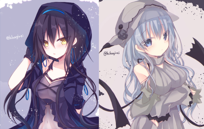2girls :t arms_under_breasts bangs black_gloves black_hair blush breast_lift breasts closed_mouth collarbone commentary_request detached_sleeves dress earrings eyebrows_visible_through_hair gen_2_pokemon gen_7_pokemon gloves grey_dress grey_eyes grey_hair grey_headwear grey_sleeves hair_between_eyes hand_up hat hoop_earrings jacket jewelry long_hair long_sleeves looking_at_viewer medium_breasts mimikyu multiple_girls open_clothes open_jacket parted_lips personification pokemon pout purple_dress purple_jacket see-through short_sleeves sleeveless sleeveless_dress sleeves_past_wrists twitter_username umbreon very_long_hair yamine_kuro yellow_eyes