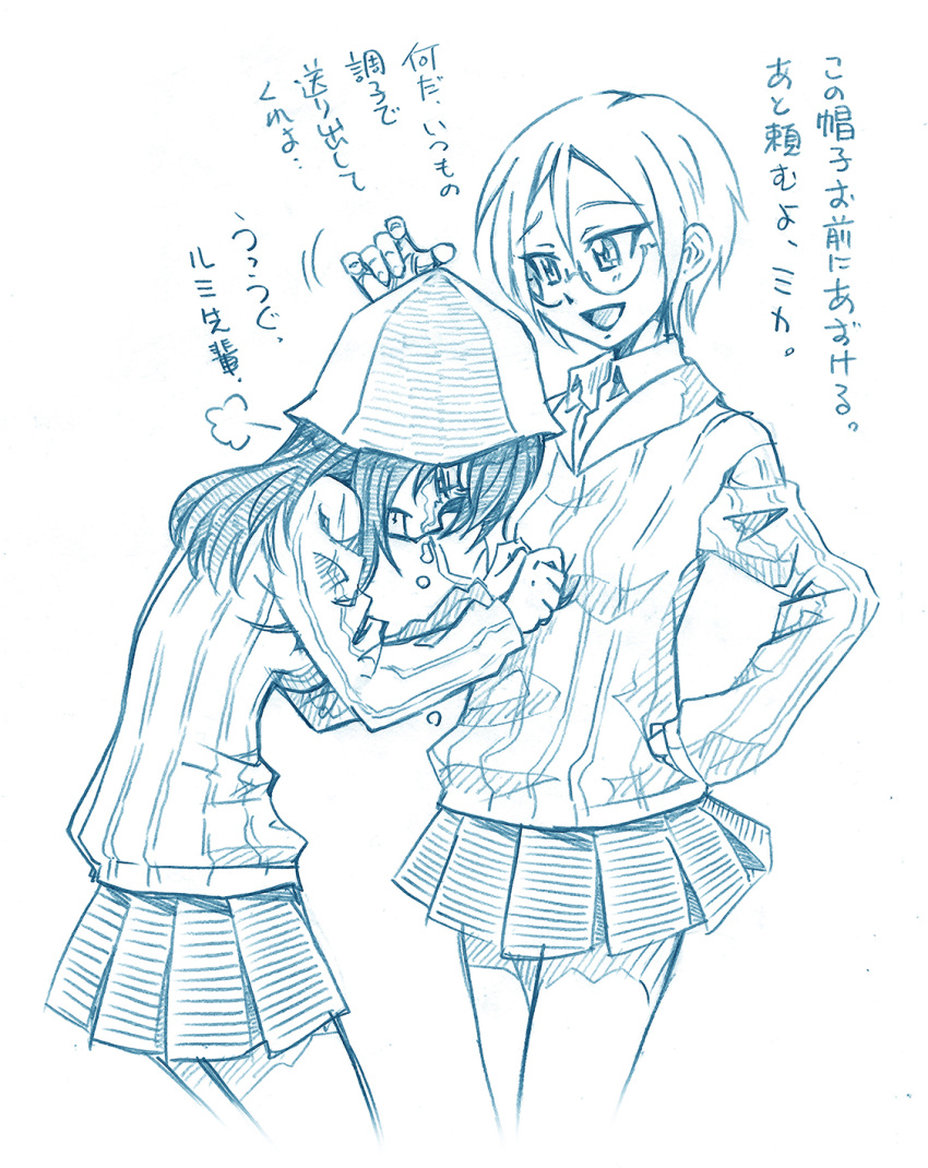 2girls =3 bangs bbb_(friskuser) blue_theme closed_eyes clothes_grab commentary crying dress_shirt frown girls_und_panzer glasses grimace hand_on_another's_head hand_on_hip hat highres keizoku_school_uniform leaning_forward long_hair long_sleeves looking_at_another mika_(girls_und_panzer) miniskirt monochrome motion_lines multiple_girls open_mouth pleated_skirt rimless_eyewear round_eyewear rumi_(girls_und_panzer) school_connection school_uniform shirt short_hair skirt smile striped striped_shirt swept_bangs translated vertical-striped_shirt vertical_stripes