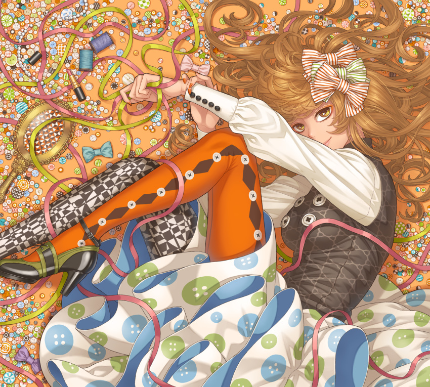 1girl aqua_bow argyle argyle_legwear bangs bead_necklace beads black_footwear black_legwear blue_skirt bow bow_removed breasts brown_hair buttons checkered closed_mouth commentary_request cross-laced_footwear dress eyelashes feet_out_of_frame fingernails from_above green_bow green_ribbon hair_bow hand_mirror high_heels highres holding holding_own_wrist jewelry jewelry_removed lipstick lipstick_tube long_fingernails long_hair long_sleeves looking_at_viewer lying makeup medium_breasts minami_(minami373916) mirror mismatched_legwear multicolored multicolored_clothes multicolored_legwear multicolored_skirt nail_polish necklace on_side orange_background orange_legwear orange_nails original outstretched_arms pantyhose pink_bow print_legwear print_skirt puffy_long_sleeves puffy_sleeves red_bow red_ribbon ribbon shiny_footwear skirt smile solo spool striped striped_bow swept_bangs thread too_many vest white_legwear white_skirt yellow_eyes