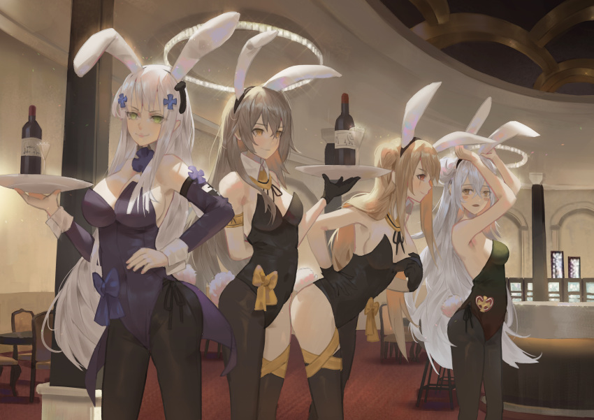 4girls absurdres alternate_costume alternate_hairstyle animal_ears armband asymmetrical_legwear bangs bent_over black_gloves black_legwear black_leotard blush blush_stickers bottle breasts brown_hair bunny_girl bunny_tail bunnysuit chair cirilla detached_collar detached_sleeves facial_scar fake_animal_ears fake_tail g11_(girls_frontline) girls_frontline glass gloves hair_ornament hand_on_hip highres hk416_(girls_frontline) holding holding_tray huge_filesize indoors large_breasts leotard light_brown_hair lips long_hair medium_breasts multiple_girls open_mouth pantyhose rabbit_ears ribbon scar silver_hair small_breasts smile tail tray ump45_(girls_frontline) ump9_(girls_frontline) wine_bottle wrist_cuffs