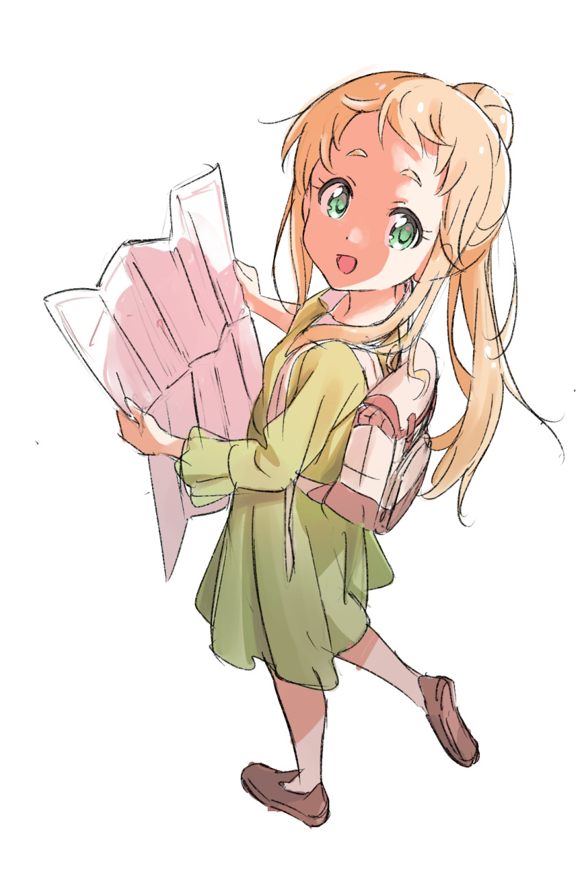1girl :d backlighting backpack bag blonde_hair brown_footwear collared_dress dress eyebrows from_above from_side green_dress green_eyes hands_up high_ponytail highres holding holding_map inose_mai koisuru_asteroid leg_lift loafers long_hair long_sleeves looking_at_viewer looking_back map open_mouth ponytail shoe_soles shoes sidelocks simple_background sketch smile solo tareme thick_eyebrows walking white_background yamazakijun
