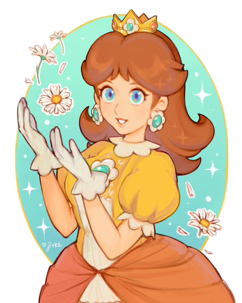 1girl bangs blue_eyes brown_hair commentary crown daisy dress earrings flower gloves highres jewelry jivke long_hair looking_at_viewer mario_(series) object_namesake orange_dress princess_daisy puffy_short_sleeves puffy_sleeves short_sleeves signature smile solo sparkle super_smash_bros. white_flower white_gloves
