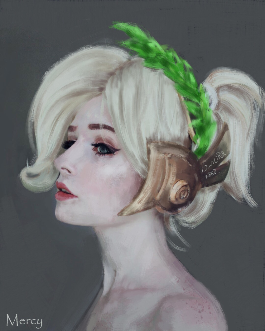 1girl artist_name blonde_hair blue_eyes character_name close-up collarbone eyebrows eyelashes eyeliner eyeshadow face freckles grey_background hair_up head_wreath headpiece highres laurel_crown lips makeup mercy_(overwatch) nier_mira nose overwatch painting pale_skin parted_lips ponytail portrait profile realistic red_lips short_hair short_ponytail signature simple_background solo upper_teeth winged_victory_mercy