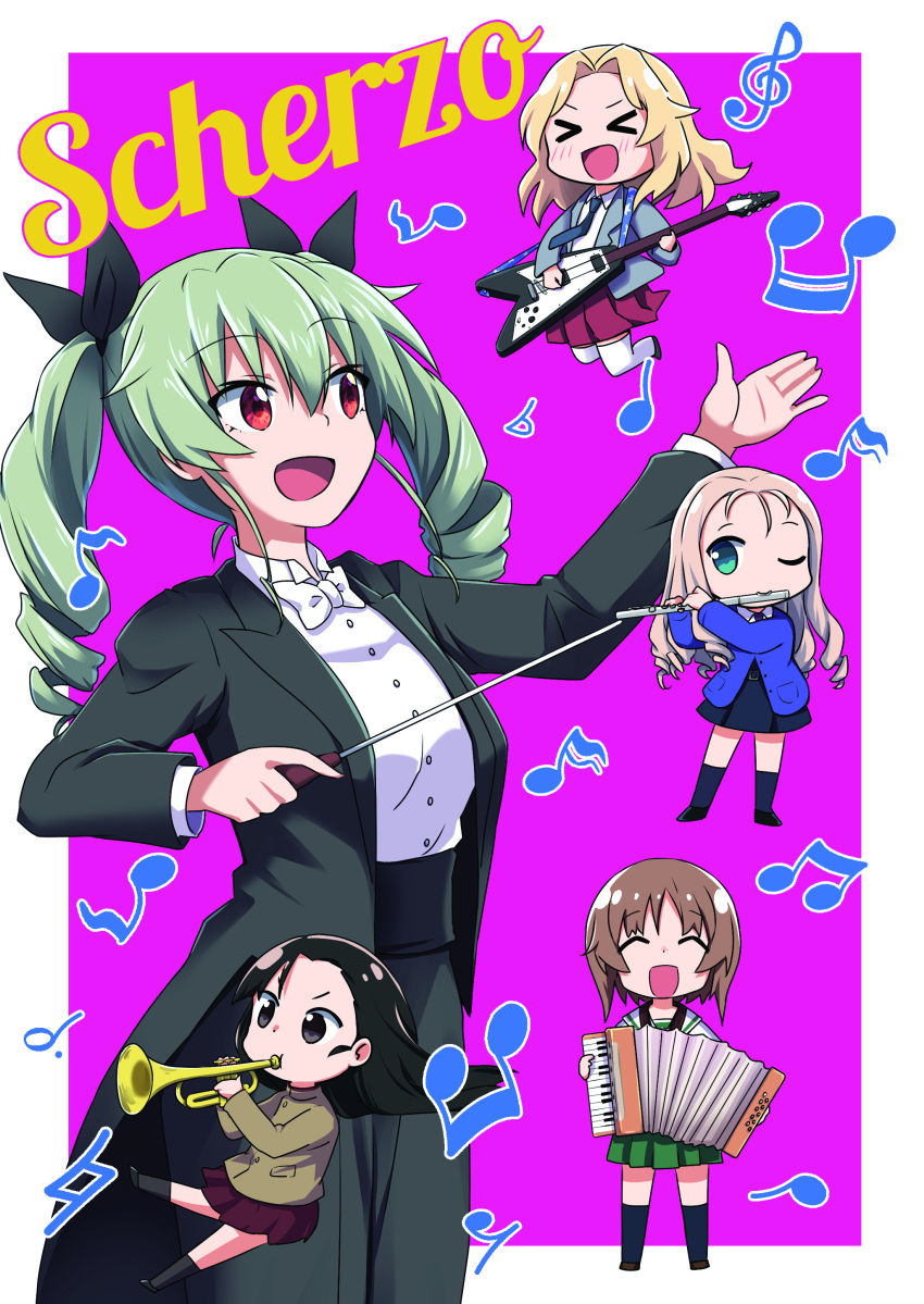 >_< :d absurdres accordion alternate_costume anchovy_(girls_und_panzer) asymmetrical_bangs bangs bc_freedom_school_uniform beamed_sixteenth_notes black_eyes black_hair black_jacket black_legwear black_neckwear black_ribbon black_skirt blazer blonde_hair blouse blue_eyes blue_sweater bow bowtie brown_hair brown_jacket cardigan chi-hatan_school_uniform chibi closed_eyes collared_blouse commentary_request cover cover_page cummerbund doujin_cover dress_shirt drill_hair eighth_note eighth_rest electric_guitar eyebrows_visible_through_hair flat_sign flute formal girls_und_panzer green_eyes green_hair green_skirt grey_jacket guitar hair_intakes hair_ribbon half_note high_collar highres holding holding_instrument instrument italian_text jacket jumping katakori_sugita kay_(girls_und_panzer) long_hair long_sleeves marie_(girls_und_panzer) miniskirt music musical_note necktie nishi_kinuyo nishizumi_miho one_eye_closed ooarai_school_uniform open_clothes open_jacket open_mouth outside_border playing_instrument pleated_skirt purple_background quarter_note red_eyes red_skirt ribbon saunders_school_uniform school_uniform serafuku shirt short_hair sixteenth_note skirt smile socks standing sweater thigh-highs translation_request treble_clef trumpet twin_drills twintails white_blouse white_legwear white_neckwear white_shirt wing_collar
