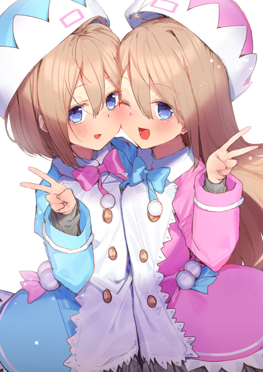 2girls :d ;d absurdres blancpig_yryr blue_dress blue_eyes blue_neckwear blush bow bowtie brown_hair cheek-to-cheek cowboy_shot double-breasted dress hair_between_eyes hand_up happy hat highres long_hair looking_at_viewer medium_hair multiple_girls neptune_(series) one_eye_closed open_mouth pink_dress pink_neckwear ram_(neptune_series) rom_(neptune_series) siblings simple_background sisters smile twins v very_long_hair white_background