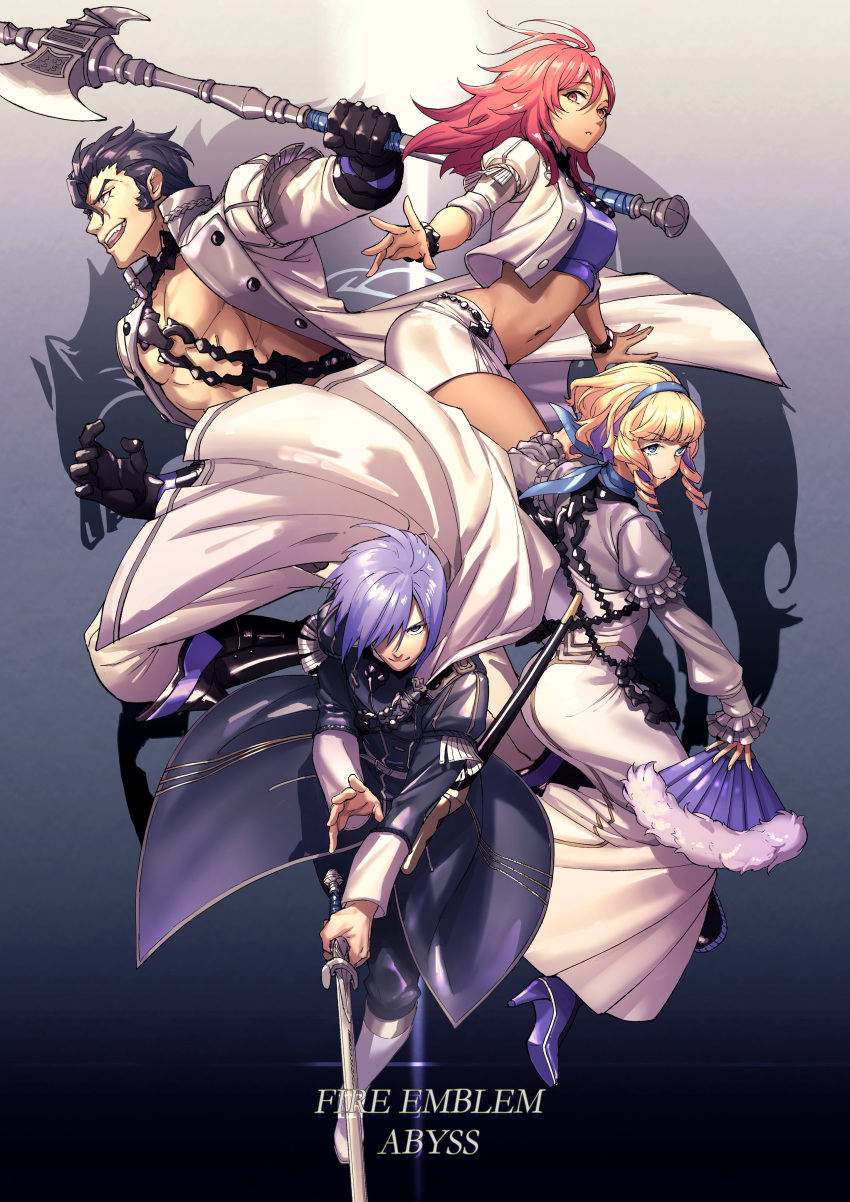 2boys 2girls absurdres axe balthus_(fire_emblem) black_footwear black_gloves black_hair blonde_hair blue_background boots bracelet breasts brown_eyes cape chain coat constance_(fire_emblem) copyright_name crop_top dark_skin dress drill_hair fan fire_emblem fire_emblem:_three_houses folding_fan gloves gradient gradient_background grey_eyes grin hair_between_eyes hair_over_one_eye hair_slicked_back hairband hapi_(fire_emblem) high_heels highres jewelry long_sleeves looking_at_viewer medium_breasts medium_hair midriff miniskirt moyashi_mou2 multicolored_hair multiple_boys multiple_girls navel open_clothes open_mouth open_shirt pink_eyes pink_hair purple_footwear purple_hair scabbard sheath short_hair side_drill skirt smile sword teeth twin_drills two-tone_hair unsheathed weapon white_dress white_footwear white_skirt yuri_(fire_emblem)