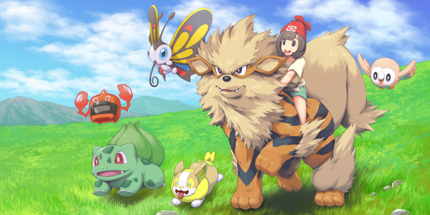 1girl :d arcanine bangs beautifly brown_hair bulbasaur clouds cloudy_sky commentary_request field gen_1_pokemon gen_3_pokemon gen_4_pokemon gen_7_pokemon gen_8_pokemon grass green_shorts hat mizuki_(pokemon) mk_(mikka) mountainous_horizon open_mouth outdoors pokemon pokemon_(creature) pokemon_(game) pokemon_sm red_headwear riding rotom rowlet short_hair shorts sky smile yamper