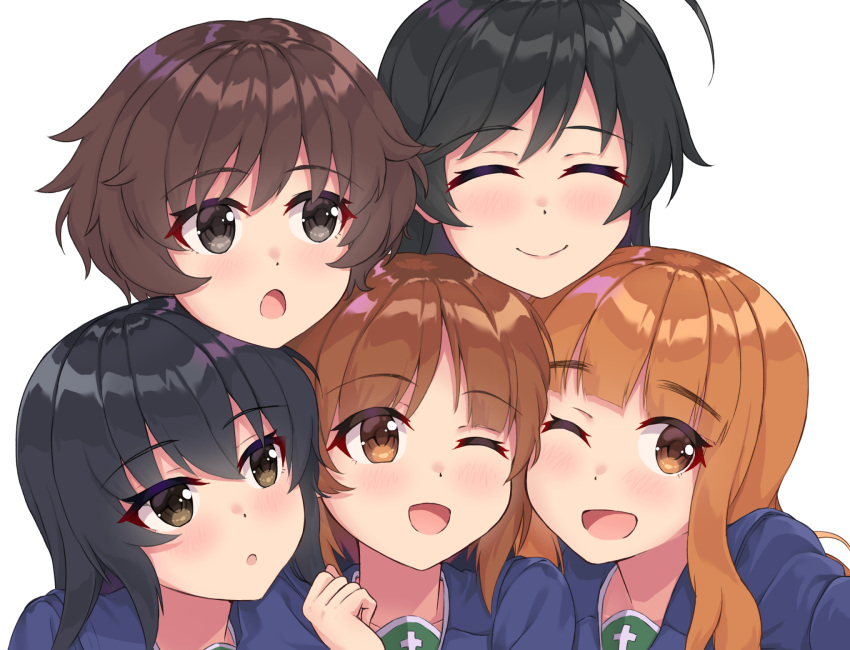 5girls :o ;d ahoge akiyama_yukari bangs black_hair blue_coat blunt_bangs blush brown_eyes brown_hair closed_mouth commentary_request face-to-face far_is_a girl_sandwich girls_und_panzer hairband highres isuzu_hana long_hair looking_at_another looking_at_viewer messy_hair multiple_girls nishizumi_miho one_eye_closed ooarai_school_uniform open_mouth orange_eyes orange_hair partial_commentary portrait pose reizei_mako sandwiched school_uniform short_hair simple_background smile takebe_saori white_background white_hairband