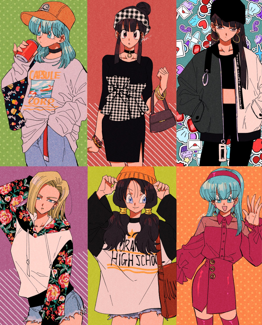6+girls :d :o aircraft airplane alternate_costume android_18 arm_at_side arm_up bag bangs bare_legs baseball_cap belt black_bag black_choker black_dress black_eyes black_headwear black_legwear black_neckwear black_ribbon blonde_hair blue_eyes blue_hair blunt_bangs blush boots bra_(dragon_ball) bracelet brown_bag bulma can capsule_corp casual chi-chi_(dragon_ball) choker clothes_writing collarbone commentary contemporary cowboy_shot cupcake denim denim_shorts dessert dragon_ball dragon_ball_(classic) dragon_ball_gt dragon_ball_z dress earrings english_commentary expressionless eyebrows_visible_through_hair fashion floral_print food food_background food_print green_background grey_sweater gummy_bear hair_bun hairband half-closed_eyes hand_behind_head hand_in_pocket hand_up handbag hands_in_pockets hands_on_headwear hat heart heart_background highres hime_cut holding holding_can hoop_earrings jacket jeans jewelry kararai_raika letter long_hair long_sleeves looking_at_viewer looking_away loose_belt love_letter mai_(dragon_ball) medium_hair midriff multiple_girls open_clothes open_jacket open_mouth orange_headwear orange_star_high_school oversized_clothes pants pantyhose parted_lips phone pink_background pink_dress pink_footwear pink_hairband pink_legwear plaid plaid_hairband plaid_ribbon polka_dot polka_dot_background purple_background red_belt ribbon shaded_face shell shiny shiny_clothes shiny_hair short_dress short_hair short_shorts shorts sidelocks signature simple_background smile soda_can standing star straight_hair striped striped_background sweater sweets tank_top thigh-highs thigh_boots twintails two-tone_jacket unicorn videl waving zettai_ryouiki zipper
