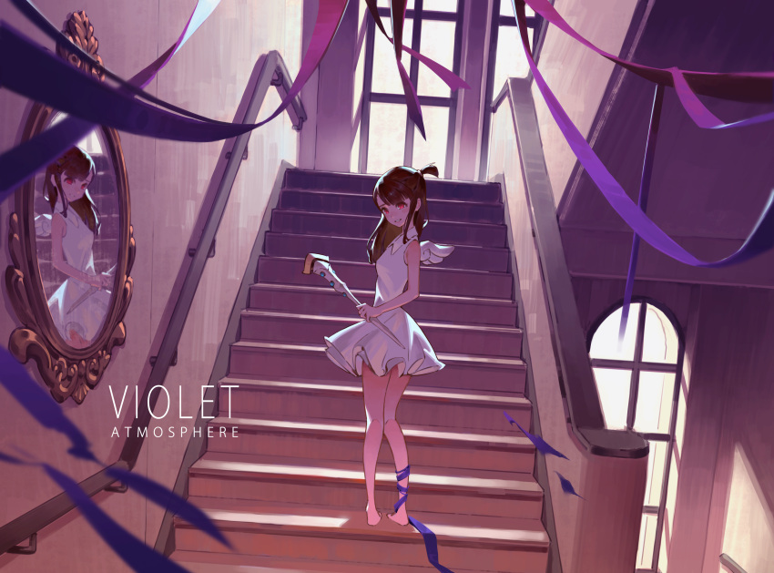 1girl absurdres barefoot brown_hair collared_dress dress floating_hair from_behind full_body grey_dress grin highres holding holding_staff indoors kagari_atsuko little_witch_academia long_hair looking_at_viewer looking_back mini_wings mirror purple_ribbon ribbon shiny shiny_hair short_dress sleeveless sleeveless_dress smile solo staff stairs standing white_dress white_wings wing_collar wings yusheng