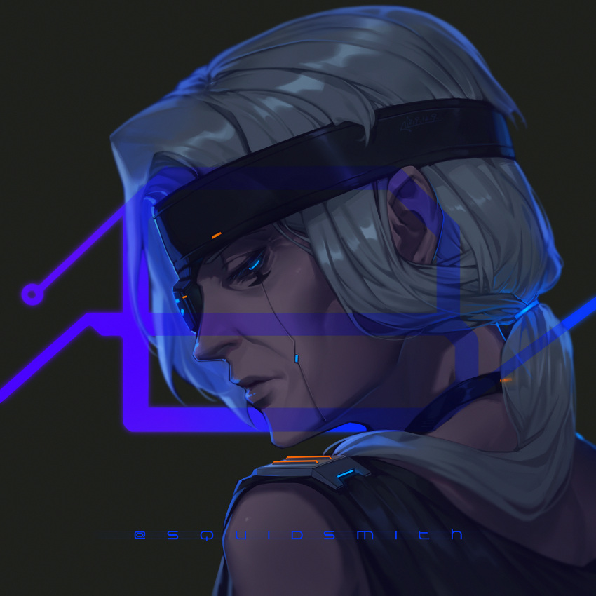 1girl ana_(overwatch) blue_eyes choker cyberpunk cyberpunk_2077 cyborg dark_skin eye_of_horus eyepatch facial_tattoo grey_hair hair_over_shoulder half-closed_eyes headband highres lips long_hair low_ponytail old_woman one-eyed overwatch portrait solo squidsmith tattoo
