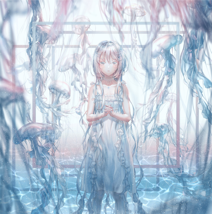 1girl bangs bare_shoulders blue_nails collarbone dress frilled_dress frills grey_eyes hands_clasped highres hoshi_ame jellyfish jewelry long_hair looking_at_viewer multicolored multicolored_nails necklace original own_hands_together personification silver_hair sleeveless sleeveless_dress solo standing wading water