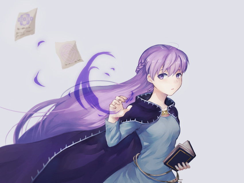 1girl absurdly_long_hair belly_chain blue_background blue_dress book cloak collarbone dress fire_emblem fire_emblem:_the_binding_blade highres holding holding_book jewelry long_hair long_sleeves looking_away looking_to_the_side magic mesz410 paper purple_cloak solo sophia_(fire_emblem) very_long_hair