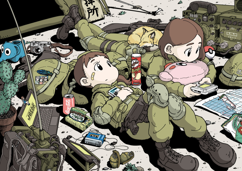 2girls animal assault_rifle backpack backpack_removed bag bandaid bandaid_on_face cactus camera canteen coca-cola commentary computer english_commentary explosive feathers fox game_boy grenade gun handheld_game_console headwear_removed helmet helmet_removed highres howa_type_89 japan_ground_self-defense_force japan_self-defense_force kirby knee_pads laptop lying map military military_uniform multiple_girls nakamori_kemuri on_back on_stomach original photo_(object) playing_games poke_ball pringles rifle soldier stuffed_toy takenoko_no_sato_(food) tent uniform weapon