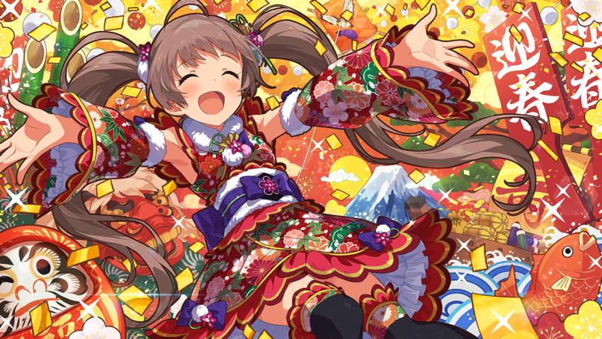 blush brown_hair closed_eyes dress hakozaki_serika idolmaster_million_live!_theater_days long_hair smile twintails yukata