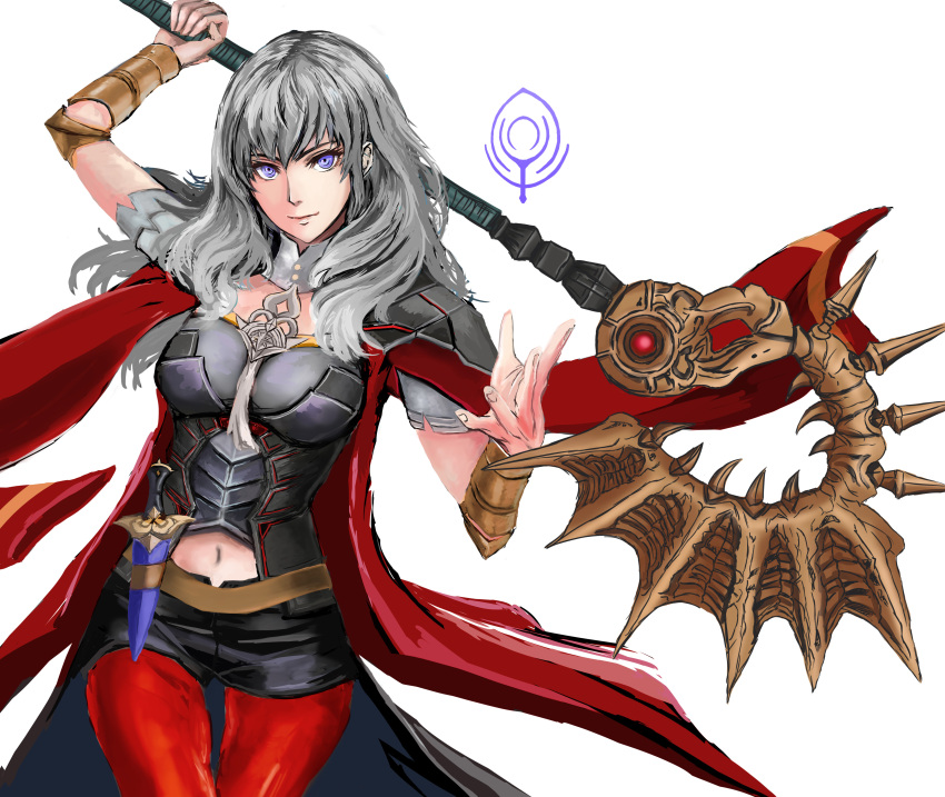1girl absurdres alternate_color axe aymr_(weapon) black_shorts byleth_(fire_emblem) byleth_(fire_emblem)_(female) closed_mouth dagger fire_emblem fire_emblem:_three_houses highres holding holding_axe jack_(kairuhaido) navel navel_cutout red_legwear sheath sheathed shorts simple_background solo super_smash_bros. violet_eyes weapon white_background white_hair