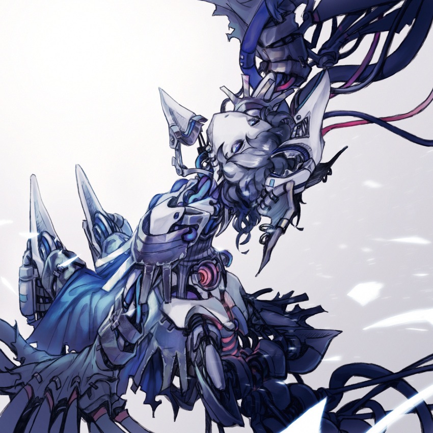 1girl android arm_up beak blue_dress blue_eyes blue_hair breasts commentary commentary_request dress earrings gradient gradient_background grey_background harpy highres invisible_chair jewelry leaning_back looking_up mechanical_parts mechanical_wings messy_hair monster_girl nc_empire_(circle) original pointy_ears robot sitting small_breasts solo white_background wings wire