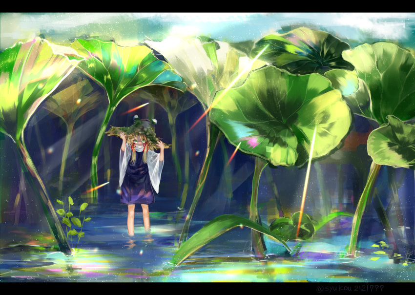 1girl blonde_hair commentary covered_mouth day green_eyes hair_ribbon hands_on_headwear hands_up highres letterboxed light_rays lily_pad long_hair looking_at_viewer moriya_suwako moss nature outdoors purple_skirt purple_vest red_ribbon ribbon shirt skirt solo sunbeam sunlight touhou turtleneck vest wading water white_shirt wide_shot wide_sleeves zhu_xiang