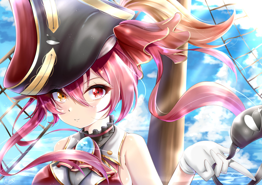 1girl absurdres arrow_through_heart bare_shoulders blue_sky breasts closed_mouth clouds cravat eyepatch eyepatch_removed gloves hair_between_eyes hat heterochromia highres hololive houshou_marine outdoors pink_hair pirate_hat red_eyes sky solo takemura-kou0606 twintails virtual_youtuber white_gloves yellow_eyes