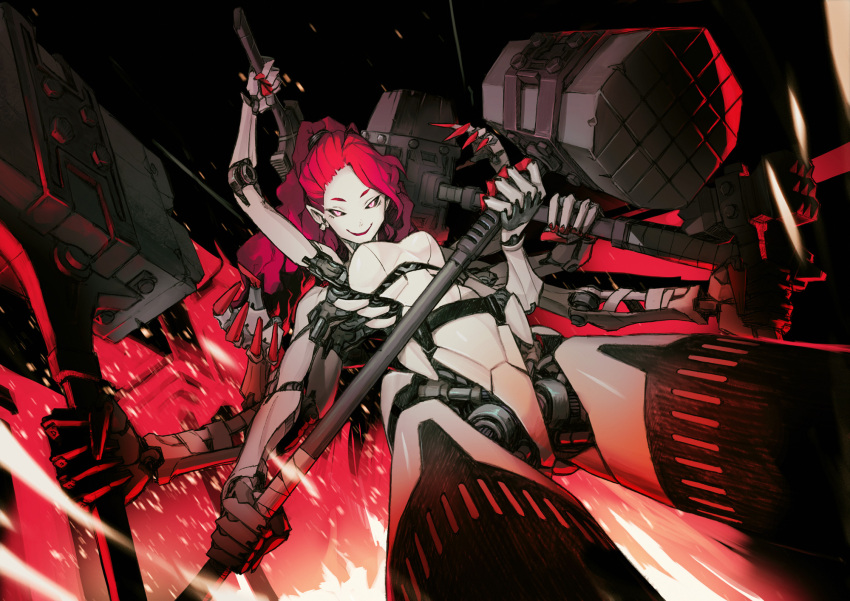 1girl black_sclera building cyborg earrings embers extra_arms fire hammer highres holding holding_hammer holding_weapon jewelry long_hair nc_empire_(circle) original parted_lips pink_eyes pointy_ears ponytail redhead single_earring smile solo weapon