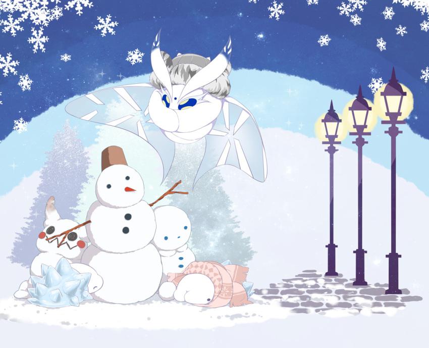 bug frosmoth fur_hat gen_7_pokemon gen_8_pokemon grey_headwear hat insect kurobe_sclock lamppost mimikyu moth no_humans pink_scarf pokemon pokemon_(game) pokemon_swsh scarf snom snow snowball snowflakes snowing snowman sparkle tree