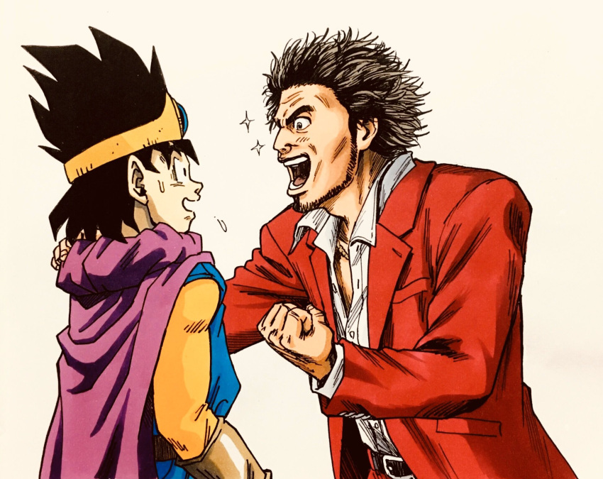 2boys beard brown_gloves cape circlet clenched_hand commentary_request dragon_quest dragon_quest_iii facial_hair gloves hand_on_another's_shoulder highres kasuga_ichiban lee_(dragon_garou) multiple_boys open_mouth purple_cape red_suit roto ryuu_ga_gotoku ryuu_ga_gotoku_7 sparkle spiky_hair sweatdrop unbuttoned unbuttoned_shirt