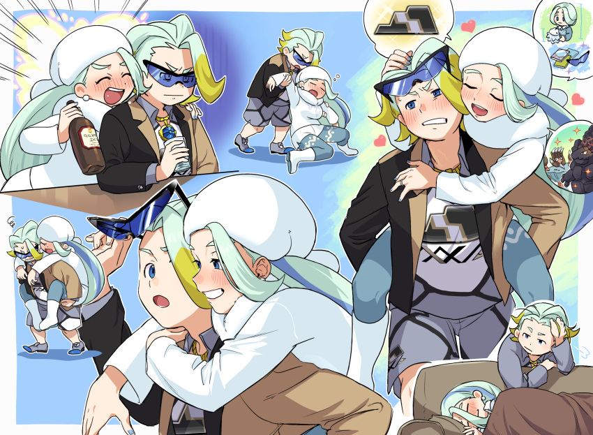barbaracle blanket blush boots bottle carrying coalossal couch drunk fur_hat glass hat heart highres hug jewelry long_hair makuwa_(pokemon) melon_(pokemon) mother_and_son multicolored_hair pendant piggyback pokemon pokemon_(game) pokemon_swsh shorts snom sunglasses two-tone_hair ushanka