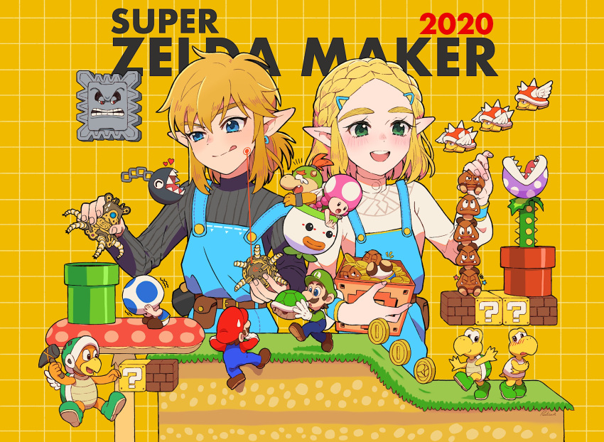 3girls 6+boys ?_block block blonde_hair blue_eyes bowser_jr. braid chain_chomp company_connection crossover facial_hair goomba green_eyes guardian_(breath_of_the_wild) hammer_brothers hat highres koopa_troopa licking_lips link luigi mario mario_(series) multiple_boys multiple_girls mustache open_mouth overalls piranha_plant pointy_ears princess_zelda round_teeth rutiwa shell spiny super_mario_bros. super_mario_maker teeth the_legend_of_zelda the_legend_of_zelda:_breath_of_the_wild the_legend_of_zelda:_breath_of_the_wild_2 thick_eyebrows thwomp toad toadette tongue tongue_out wings yellow_background