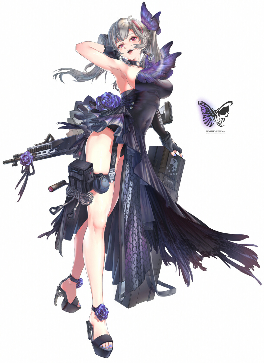arm_up armpits asymmetrical_sleeves bare_legs breasts bug butterfly butterfly_hair_ornament character_name choker dress english_text explosive fingerless_gloves flower frilled_dress frills garter_straps gloves grenade grey_hair gun hair_ornament high_heels highres insect legs looking_at_viewer medium_breasts medium_hair mivit mole mole_on_breast multicolored_hair nail_polish open_mouth original purple_dress purple_nails red_eyes redhead rifle sandals side_slit sidelocks simple_background single_sleeve strapless streaked_hair toes twintails weapon white_background