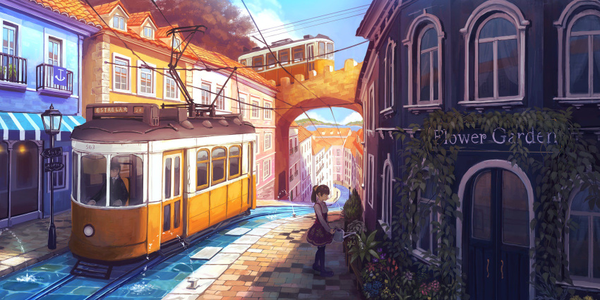 1boy 1girl black_hair brown_hair closed_mouth dangotaso day door flower glasses highres house lamppost looking_away moss original outdoors plant ponytail scenery short_hair smile streetcar vines water watering_can